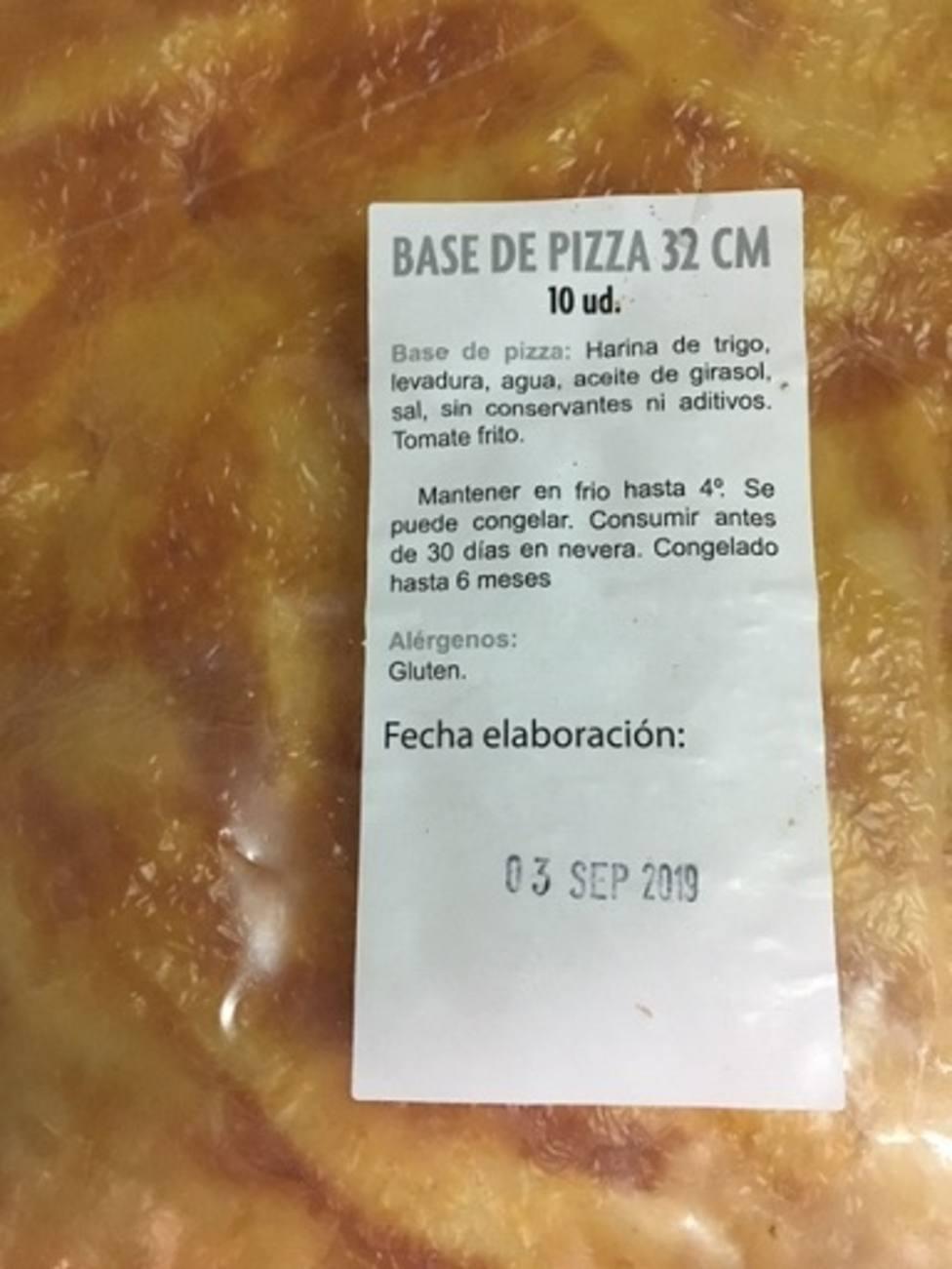 Sanidad retira del mercado las bases y pizzas de la empresa pizzaragon por no garantizar la seguridad alimentaria
