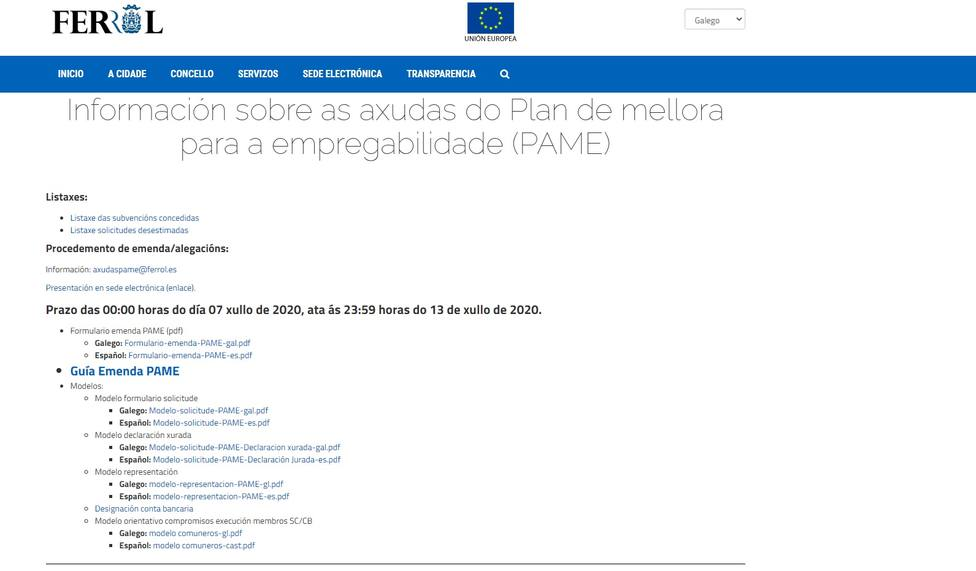 Portada de la página web del Ayuntamiento de Ferrol en donde se abordan estas ayudas