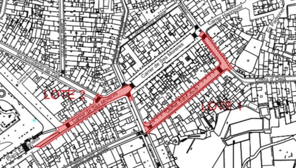 reforma integral de un tramo de las calles Ses Moreres y Bastión y todo San Jorge