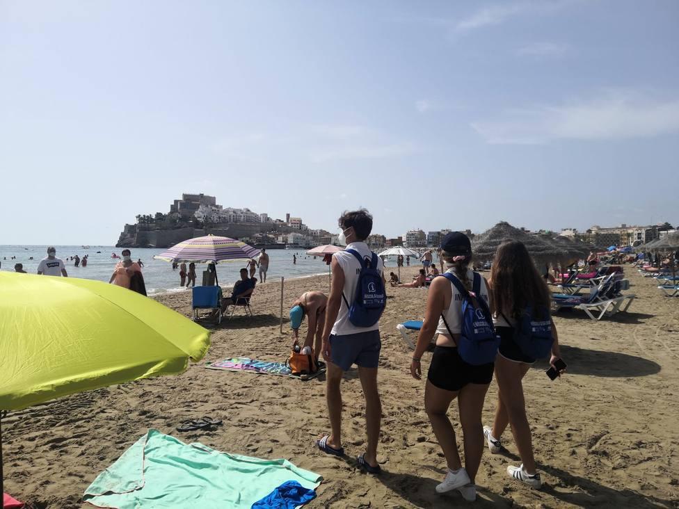 Mascarillas en la playa