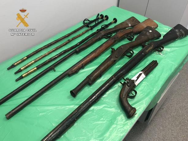 armas intervenidas por la Guardia Civil
