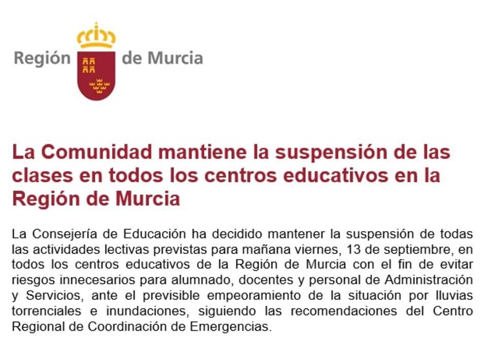 Educación mantiene la suspensión de las clases en todos los centros públicos de la Región el viernes