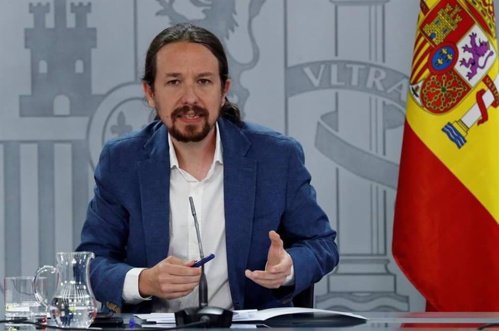 El vicepresidente segundo del Gobierno, Pablo Iglesias durante la rueda de prensa tras el Consejo de Ministros