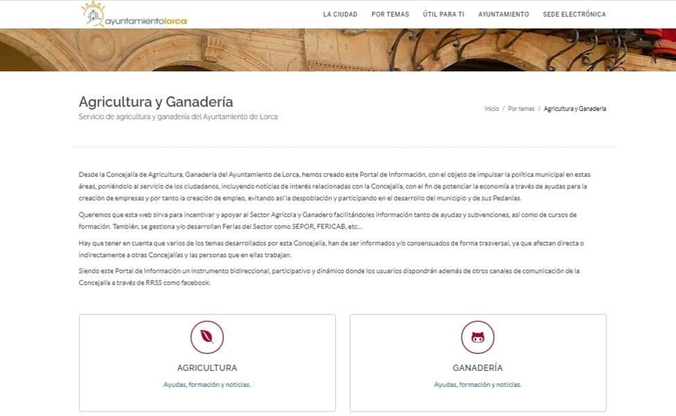 Lorca habilita dos espacios en su página web sobre Agricultura, Ganadería y Desarrollo Rural