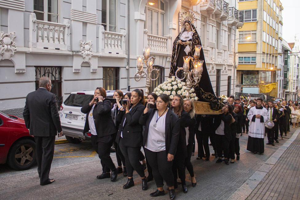 Desfile de un tercio de la Cofradía de Dolores por las calles de Ferrol. FOTO: Junta Cofradías