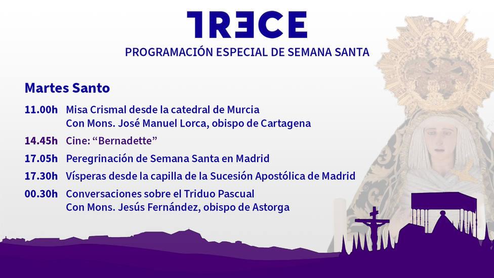 Este Martes Santo, sigue en TRECE la Misa Crismal desde la Catedral de Murcia