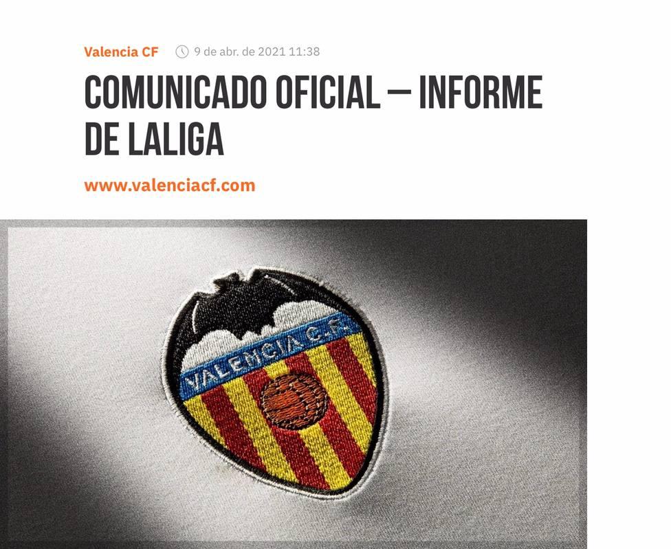 Portada del comunicado del Valencia CF