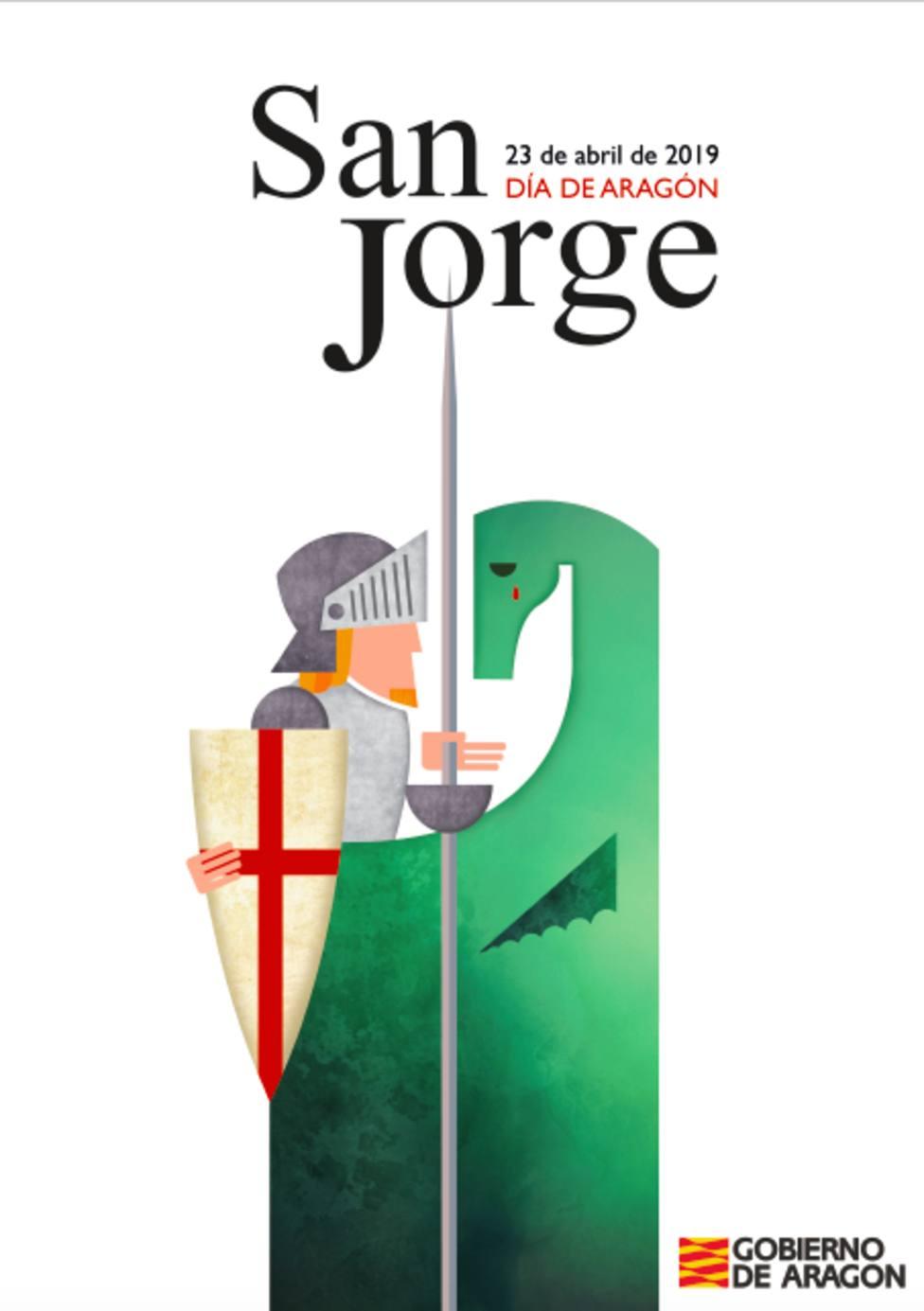 Cartel anunciador de San Jorge 2019, diseñado por la joven Natalia Castillo.
