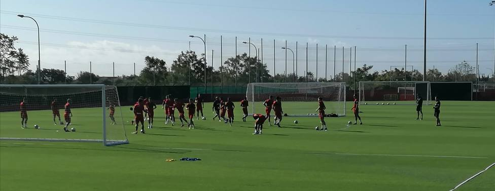 La plantilla del Real Mallorca, entrenándose hoy en Son Bibiloni