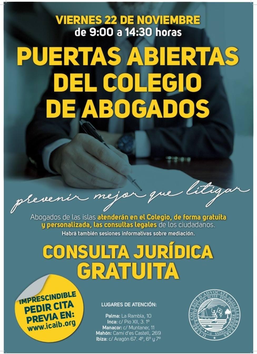 El Colegio de Abogados ofrece consultas jurídicas gratuitas