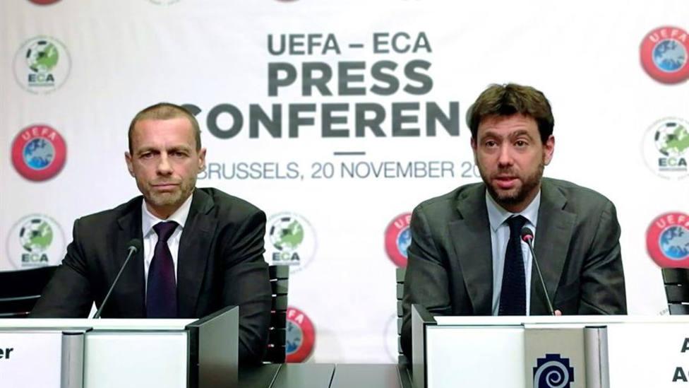 ?eferin y Agnelli en una rueda de prensa