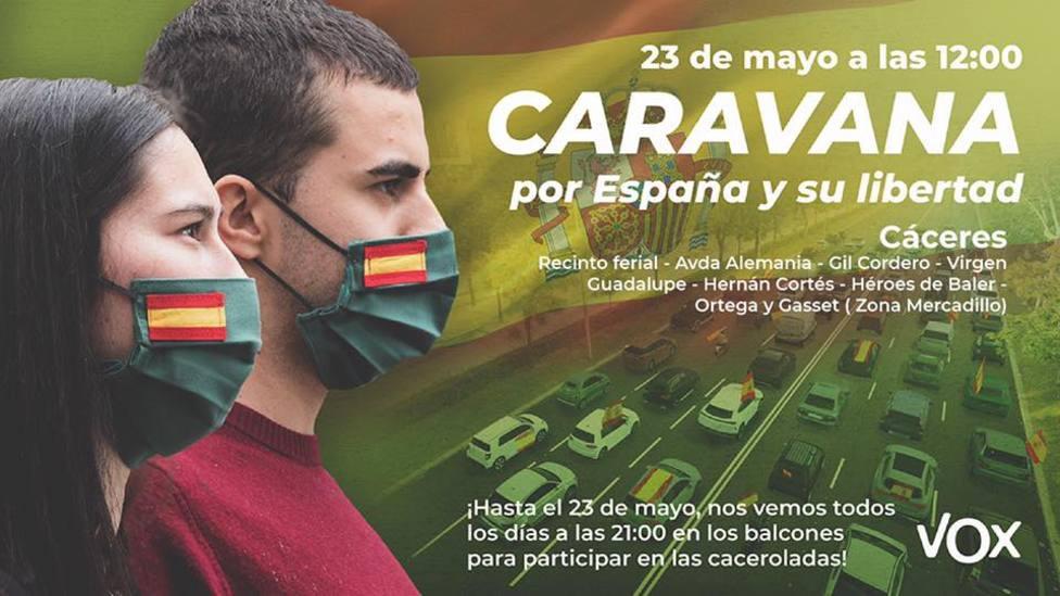 La Caravana por España y su libertad convocada por VOX recorrerá Cáceres para exigir la dimisión del Gobierno
