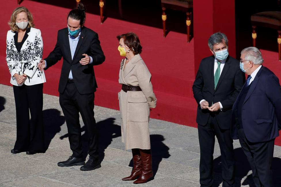 Iglesias no devuelve el saludo a Felipe VI en el acto del 12-O por el Día de la Hispanidad