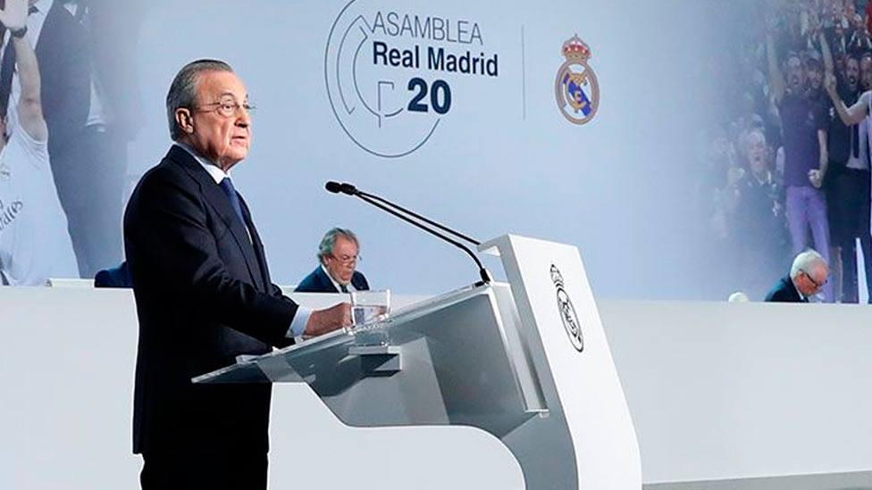 Florentino Pérez, presidente del Real Madrid, durante la Asamblea de Socios en 2020