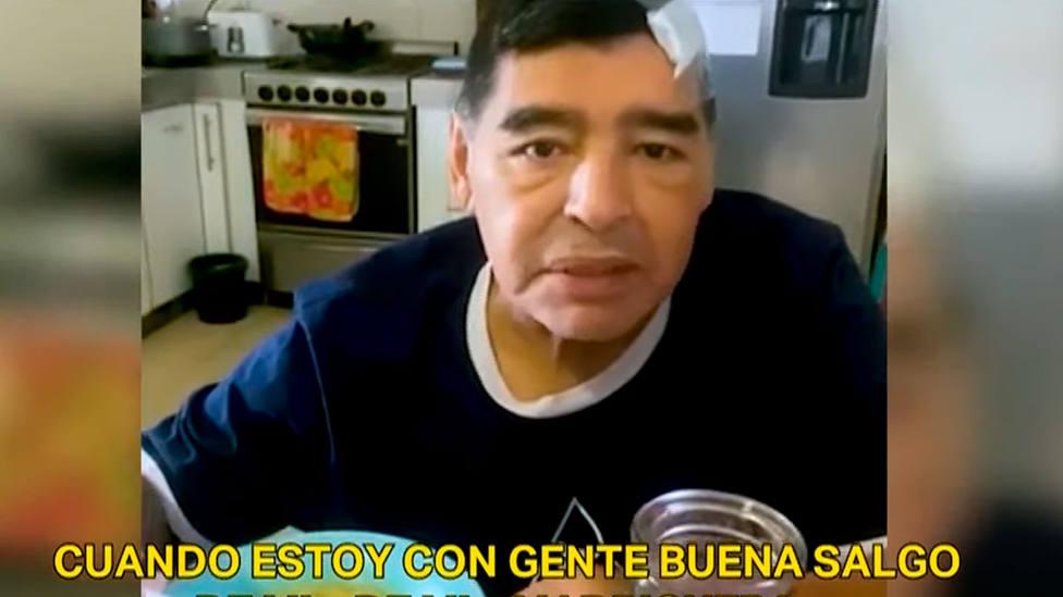 Frame del último vídeo de Diego Armando Maradona con vida