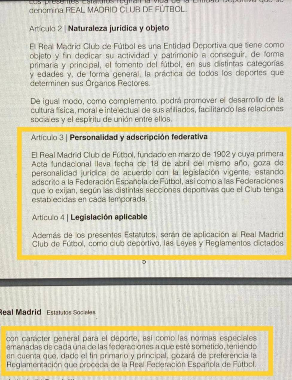Estatutos del Real Madrid contra la participación del Real Madrid en una competición independiente