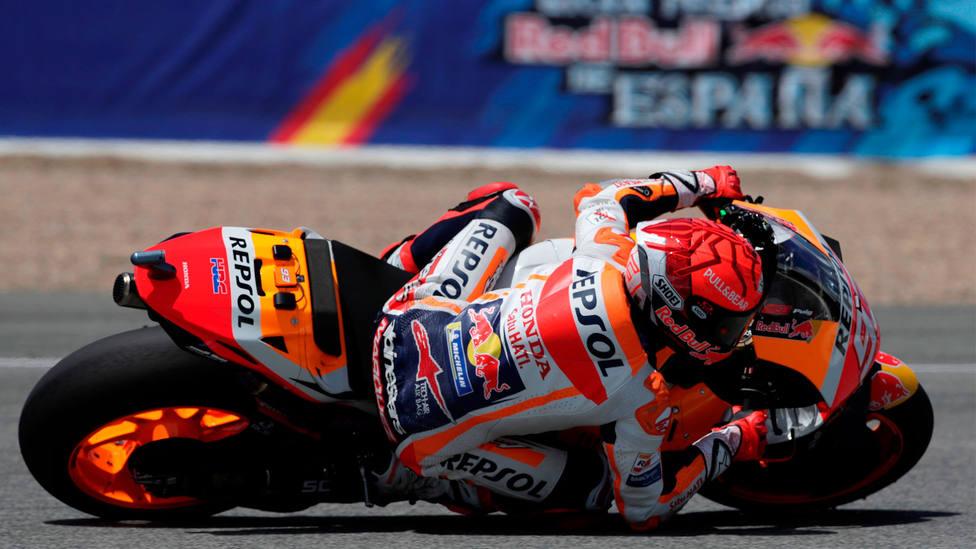 Marc Márquez, durante los entrenamiento sobre el circuito Ángel Nieto de Jerez. EFE
