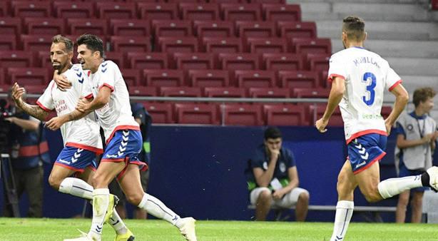 Aitor García celebra el gol de la victoria