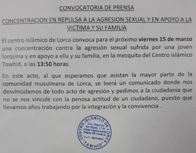 El Centro Islámico Lorca convoca una concentración contra la agresión sexual de San Diego