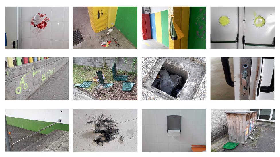 Algunos de los actos vandálicos registrados en el centro educativo - FOTO: Concello de San Sadurniño