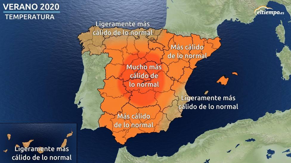 Mapa temperaturas verano 2020 Fuente: eltiempo.es
