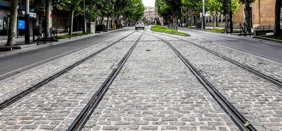 Vías del tranvía de Jaén