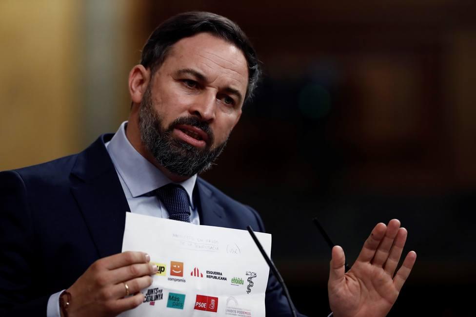 Santiago Abascal, durante su intervención en la segunda sesión del debate de moción de censura