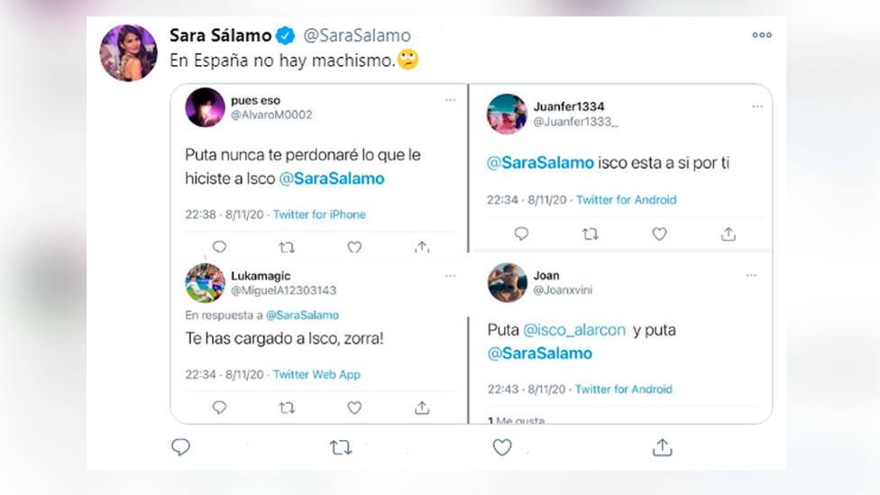 Sara Sálamo denuncia insultos machistas a través de Twitter