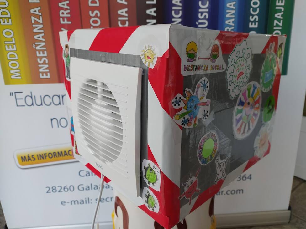 Purificador de aire creado por los alumnos / Foto: Colegio Gondomar