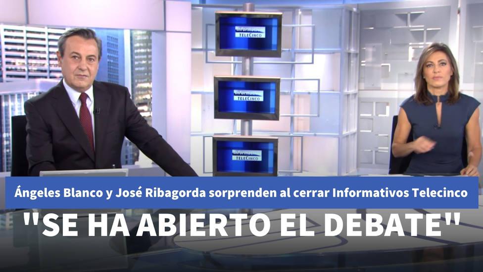 Ángeles Blanco y José Ribagorda sorprenden al cerrar Informativos Telecinco: Se ha abierto el debate