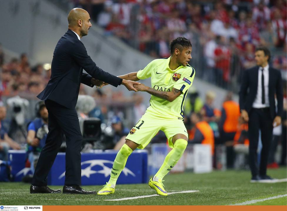 Pep Guardiola y Neymar