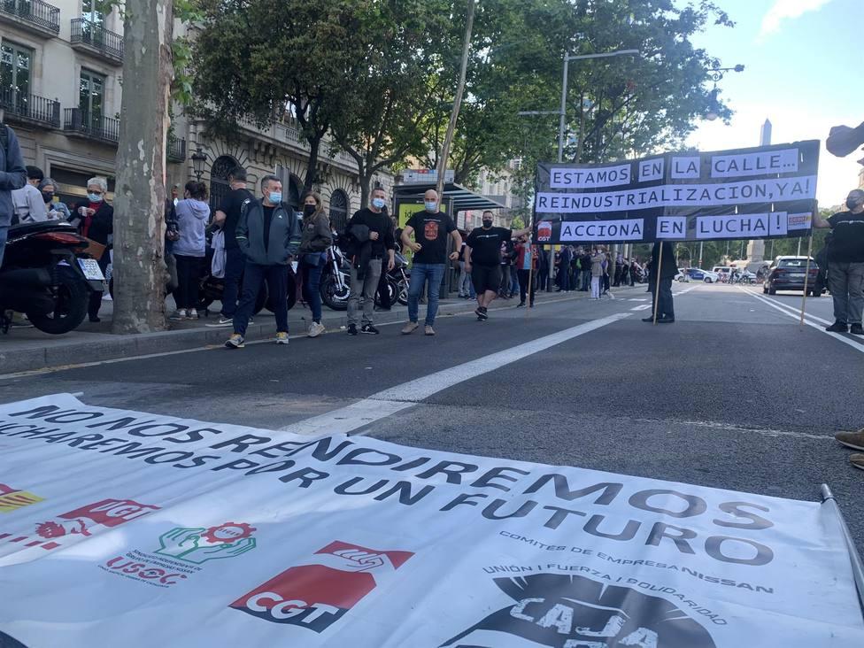 Manifestación de los trabajadores de Nissan en Barcelona