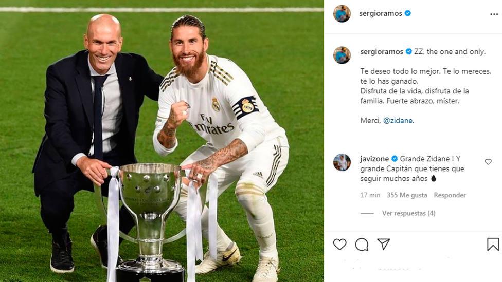 Sergio Ramos escribe un mensaje cariñoso para Zidane en su cuenta de Instagram