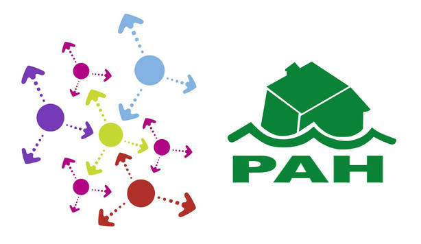 Logos de PAH y Stop Desahucios de la Red de Apoyo Mutuo de Ferrolterra