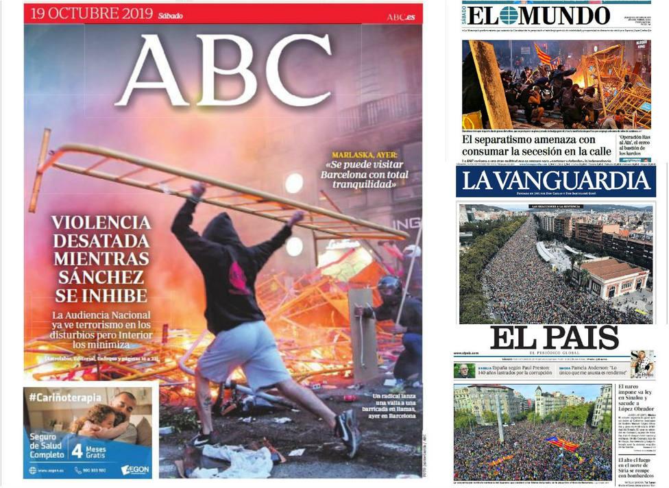 Los radicales independentistas amenazan con continuar la violencia mientras Sánchez sigue impasible, en prensa