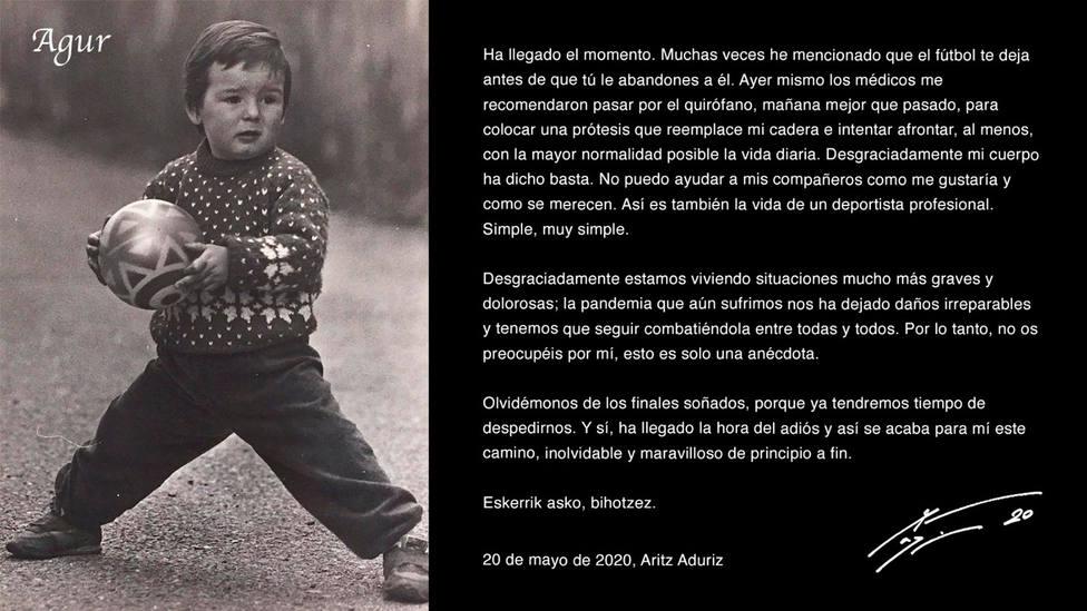 Mensaje de despedida de Aritz Aduriz (@AritzAduriz11)