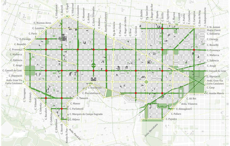 Mapa de las Superillas del Eixample de Barcelona - AYUNTAMIENTO DE BARCELONA
