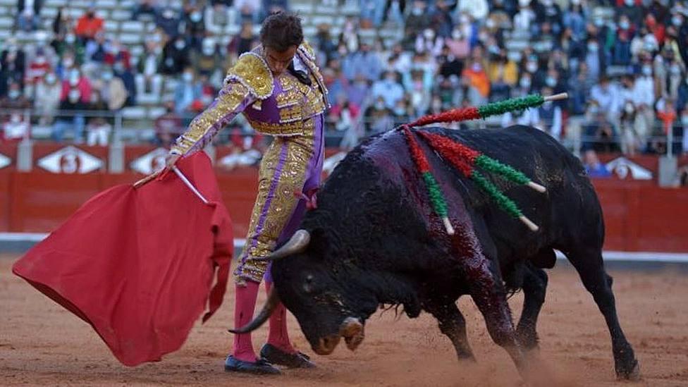 Derechazo de Alejandro Marcos durante su faena al sexto toro en Salamanca