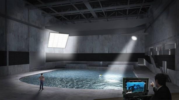 Estudio de la ciudad del cine submarina de Bruselas