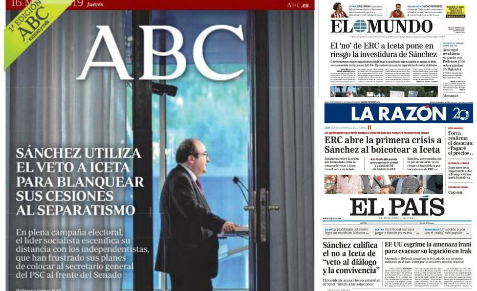 El movimiento clave de los separatistas vetando a Iceta, portada de la prensa del jueves