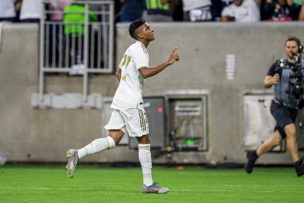 20 July 2019, US, Houston: Real Madrids Rodrygo Goes celebrates scoring his sides first goal during the 2019 International Champions Cup soccer match between Real Madrid and Bayern Munich at NRG Stadium. Photo: Trask Smith/CSM via ZUMA Wire/dpa