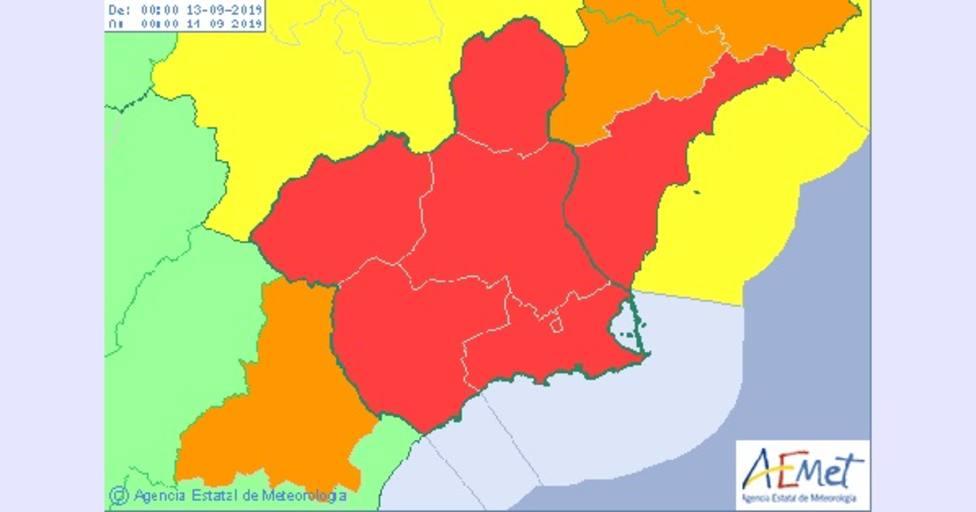 AEMET eleva a nivel rojo por lluvias, vientos y fenómenos costeros el jueves y viernes en la Región