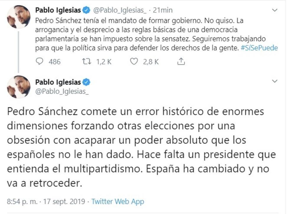 Iglesias culpa a Sánchez del error histórico de repetir elecciones y pide un presidente que asuma el multipartidismo