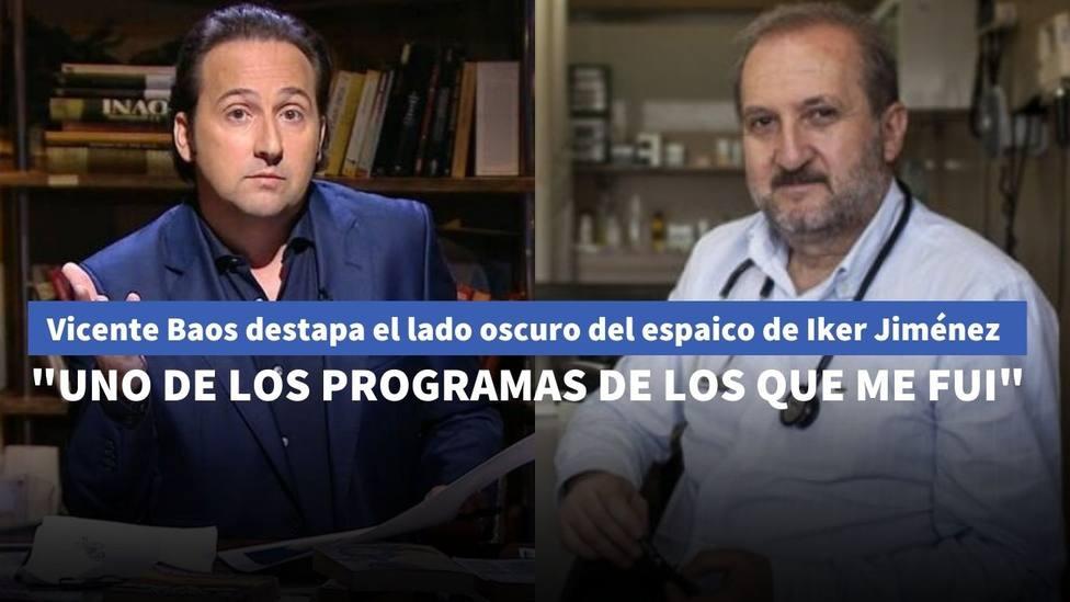 Vicente Baos clama contra el lado oculto de Iker Jiménez tras dejar de colaborar en su programa