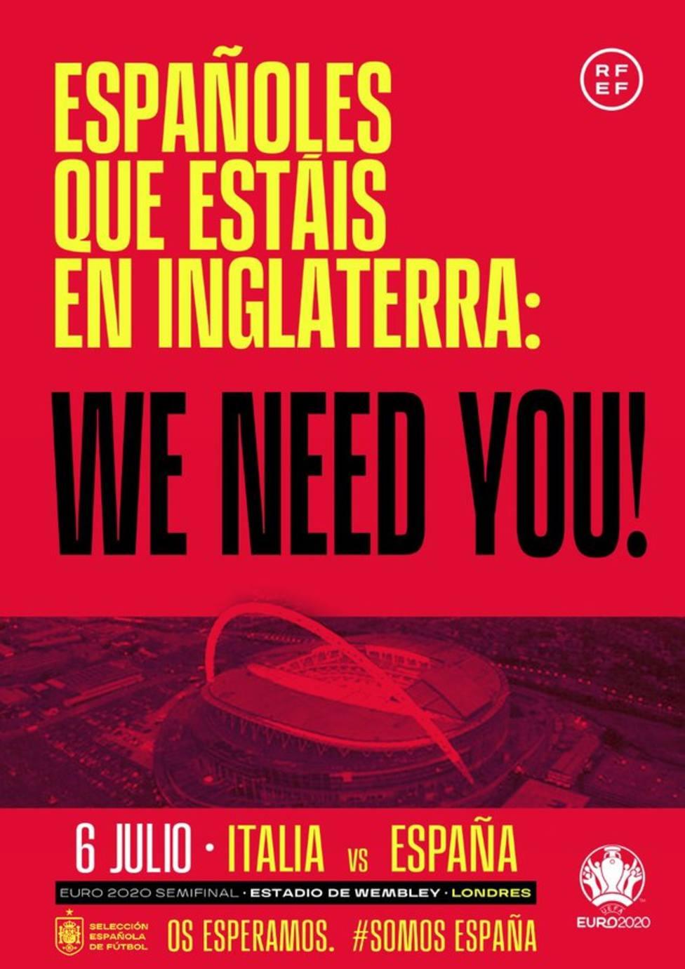 La RFEF pide a aficionados españoles en Inglaterra que acudan a Wembley
