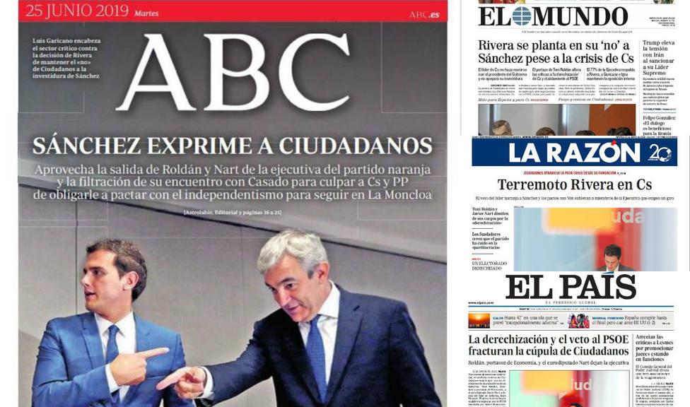La desintegración de Ciudadanos por culpa del veto a Sánchez, portada en la prensa