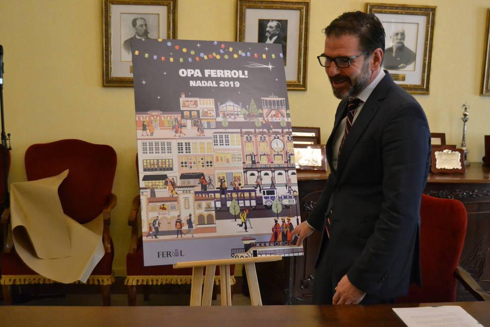 El alcalde de Ferrol, Ángel Mato, muestra el carte de Navidal de Ayuntamiento - FOTO: Concello de Ferrol