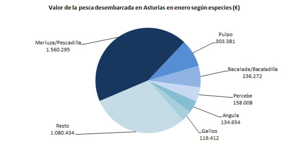 Gráfico de las capturas de pesca desembarcadas en el mes de enero en Asturias