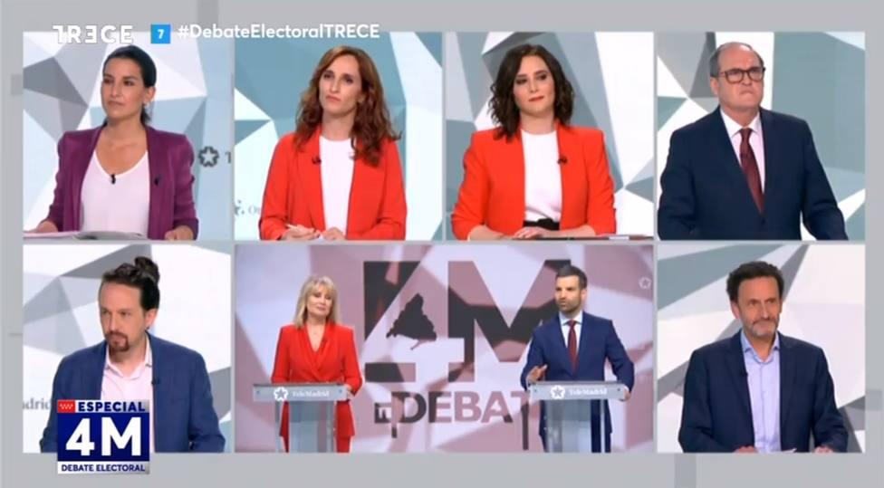 Sigue en directo el debate electoral del 4-M con todos los candidatos, en TRECE