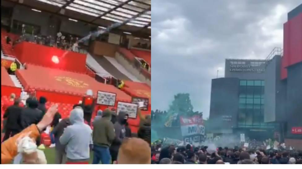 Cientos de aficionados invaden Old Trafford como protesta contra los dueños